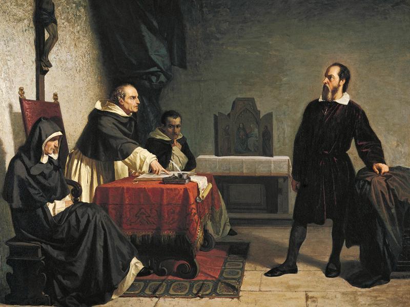 """Cristiano Banti """"Galileo Galilei davanti al Tribunale dell'Inquisizione"""" 1857"""
